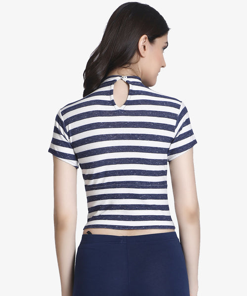 Blue and White Striped Turtle Neck Crop Top - Raaika Clothing