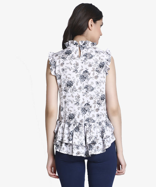 Floral Turtle Neck Sleeveless Frill Top - Raaika Clothing