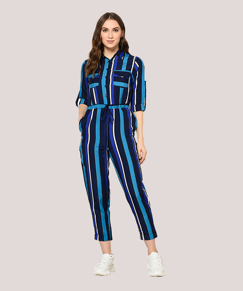 Blue Striped Full Sleeve Jumpsuit - Raaika Clothing