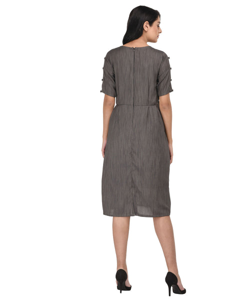 A-line Grey Midi Dress - Raaika Clothing