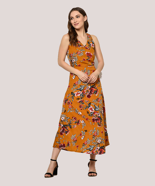Brown Floral Sleeveless A-line Maxi Dress - Raaika Clothing