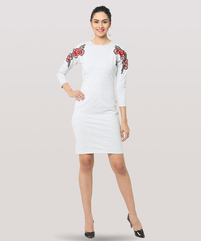 White Full Sleeves Lace Bodycon Dress - Raaika Clothing