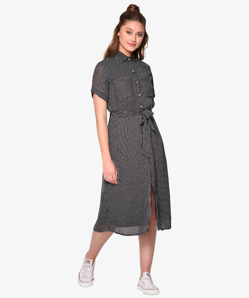 Black Striped Shirt Belted Dress - Raaika Clothing