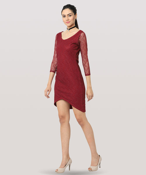 Maroon Lace 3/4th Sleeves Bodycon Dress - Raaika Clothing