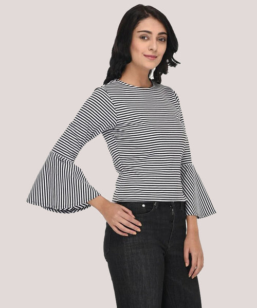 Striped Bell Sleeves Casual Wear T-Shirt - Raaika Clothing