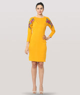 Yellow Full Sleeves Lace Bodycon Dress - Raaika Clothing