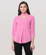 Choker Neck Full Sleeves Pink Top - Raaika Clothing