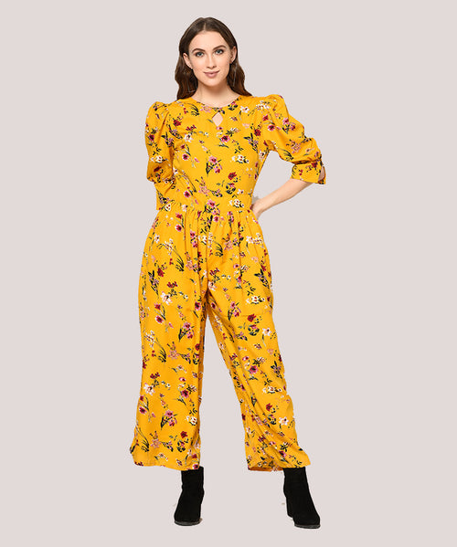 Mustard Yellow Floral Puffed Sleeves Jumpsuit - Raaika Clothing