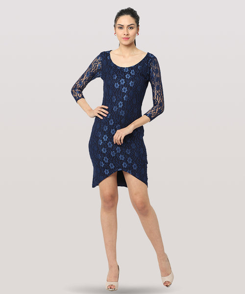 Blue Lace 3/4th Sleeves Bodycon Dress - Raaika Clothing
