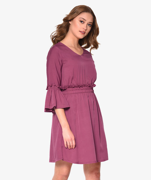 Mauve Gathered Bell Sleeved Shift Dress - Raaika Clothing
