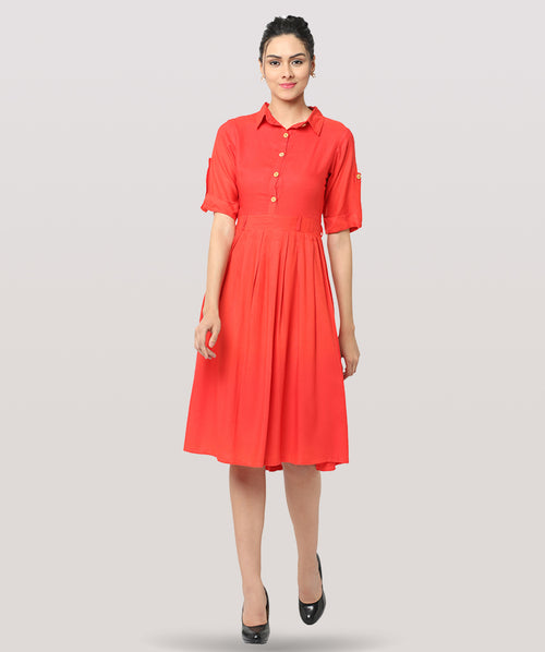 Orange Collared 3/4th Sleeves Maxi Dress - Raaika Clothing