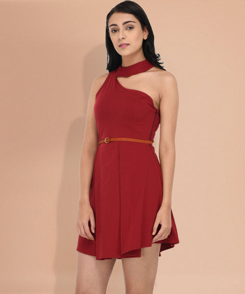 One Shoulder Chocker Skater Dress - Raaika Clothing