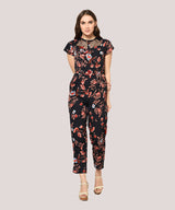 Black Floral Lace Round Neck Jumpsuit - Raaika Clothing