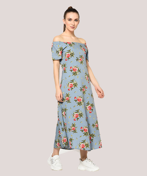 Blue Floral Off Shoulder A-line Maxi Dress - Raaika Clothing