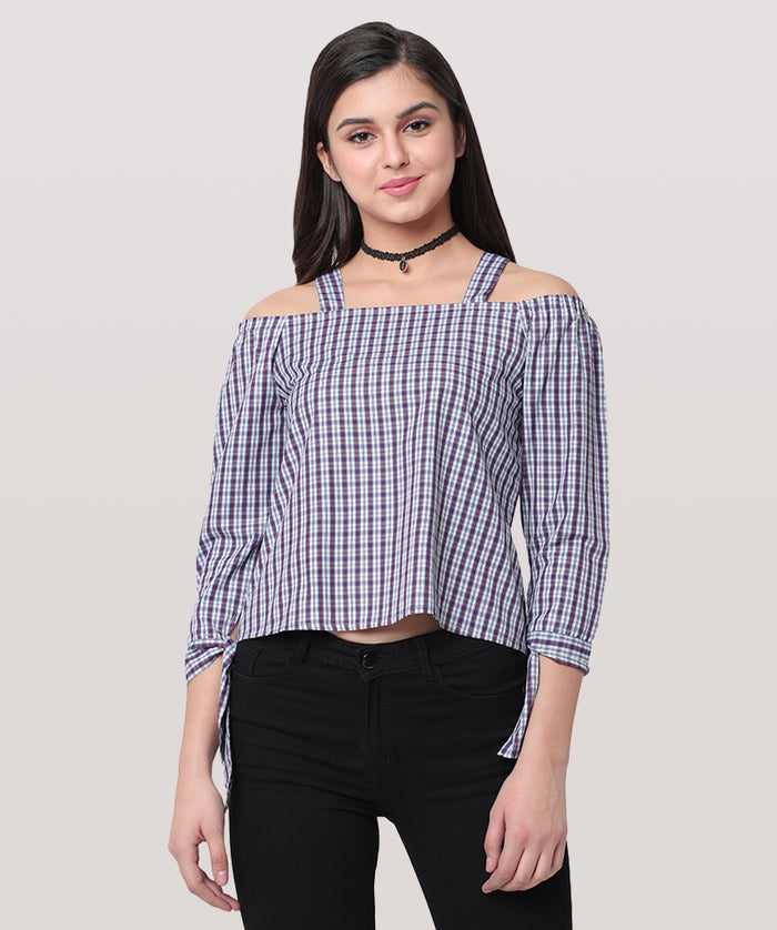 Purple Checkered Shoulder Strap Full Sleeve Top - Raaika Clothing
