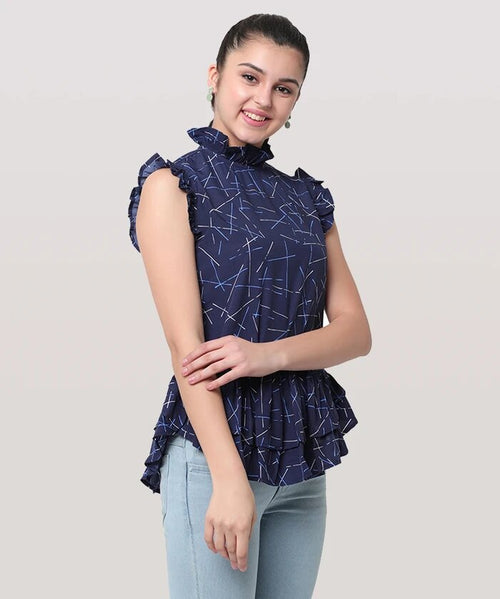 Blue Turtle Neck Sleeveless Frill Top - Raaika Clothing