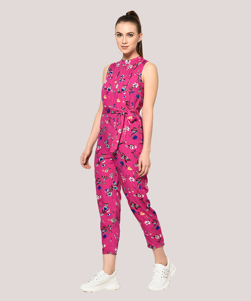 Pink Floral Round Neck Half Sleeves Jumpsuit - Raaika Clothing