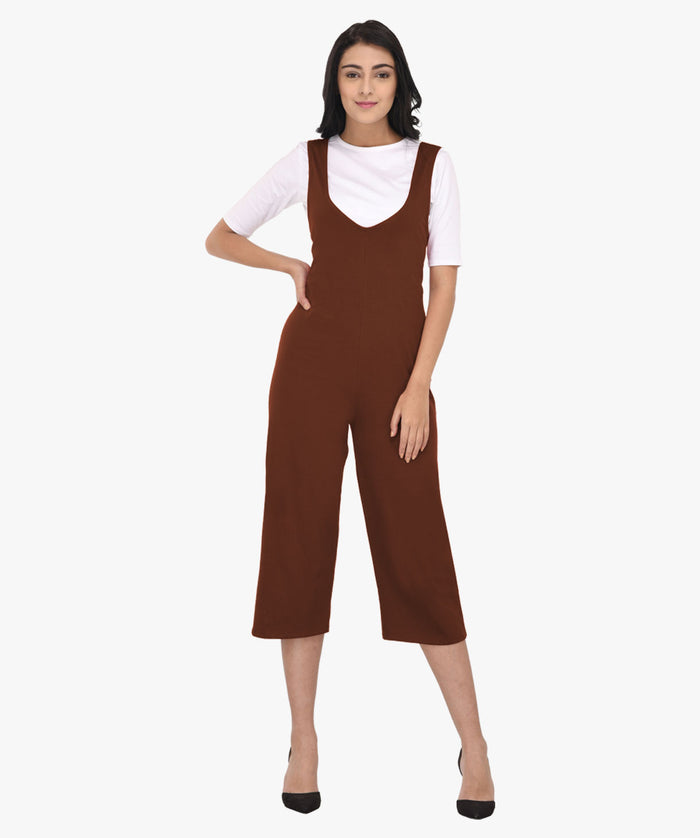 Brown Two Piece V Neck Jumpsuit - Raaika Clothing