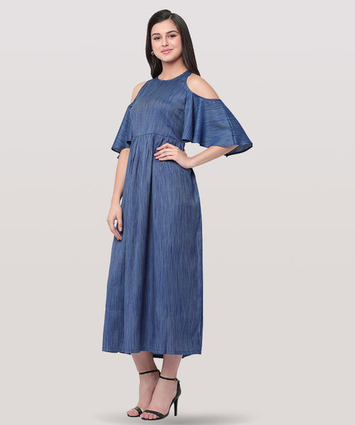 Blue Cold Shoulder Maxi Dress - Raaika Clothing