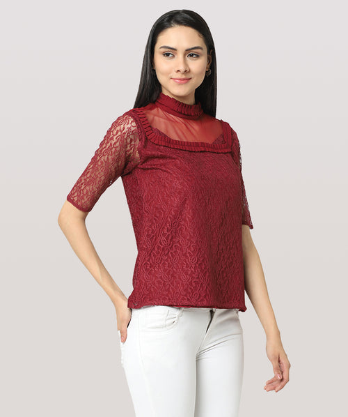 Solid Maroon Lace Net Regular Top - Raaika Clothing