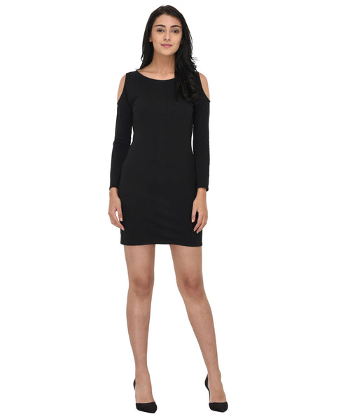 Cold Shoulder Black Bodycon Party Dress - Raaika Clothing