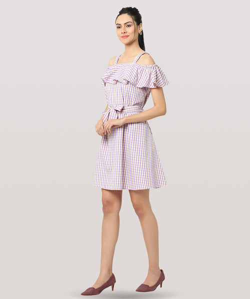Striped Shoulder Strap Ruffle A-line dress - Raaika Clothing