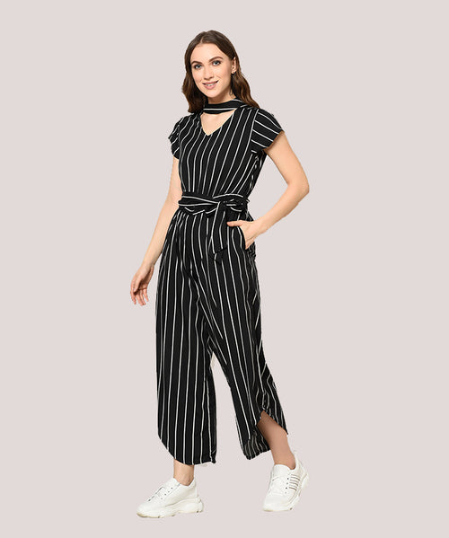 Black Striped Choker Neck Jumpsuit - Raaika Clothing