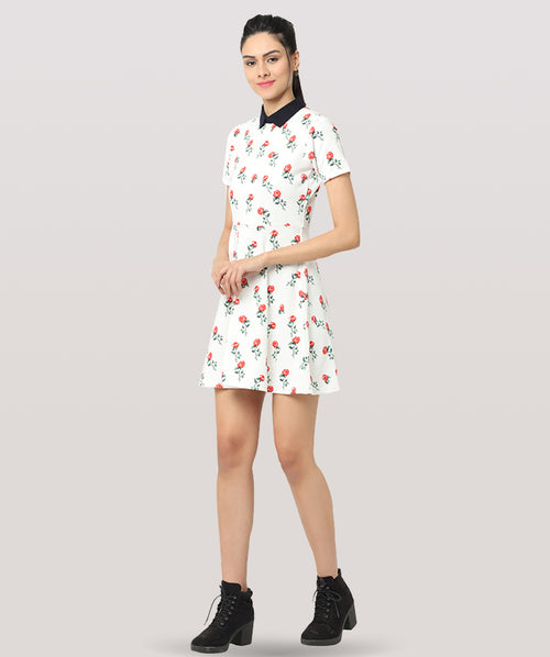 White Floral Peter Pan Collar Skater Dress - Raaika Clothing
