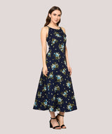 Blue Floral Shoulder Strap A-line Maxi Dress - Raaika Clothing
