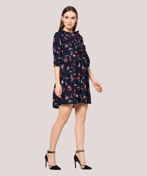 Floral Ruffle Fit and Flare Dress - Raaika Clothing