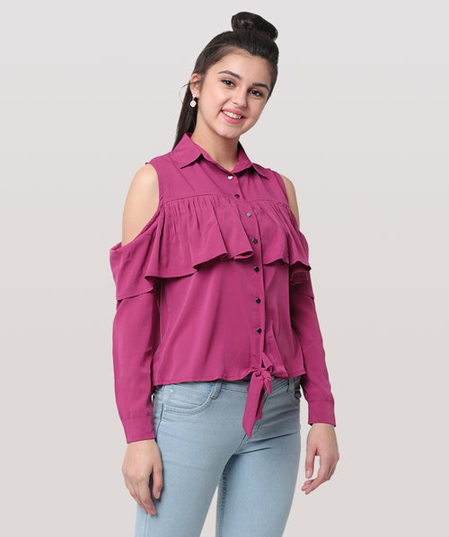 Pink Frill Cold Shoulder Knot party top - Raaika Clothing