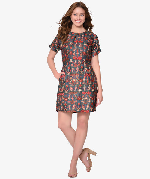 Multicolour Printed Fit and Flare Silk Dress - Raaika Clothing