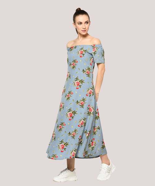 Blue Floral Off Shoulder A-line Maxi Dress