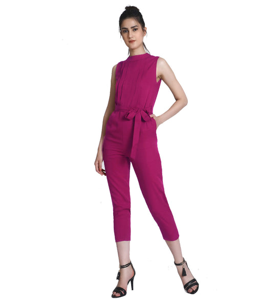 Wine Sleeveless Full Length Party Wear Jumpsuit - Raaika Clothing