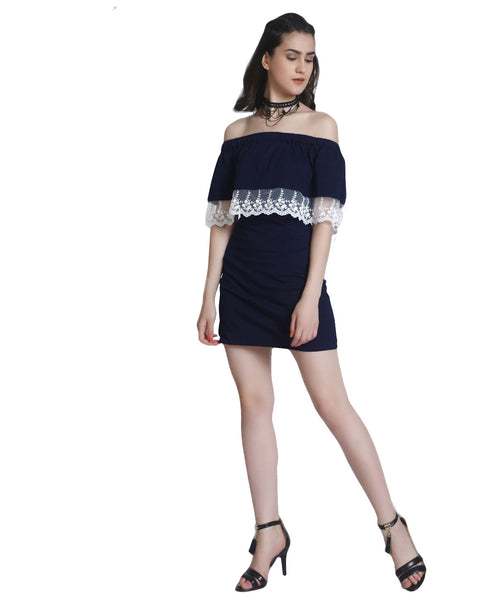 Blue Off Shoulder Lace Bodycon Dress - Raaika Clothing