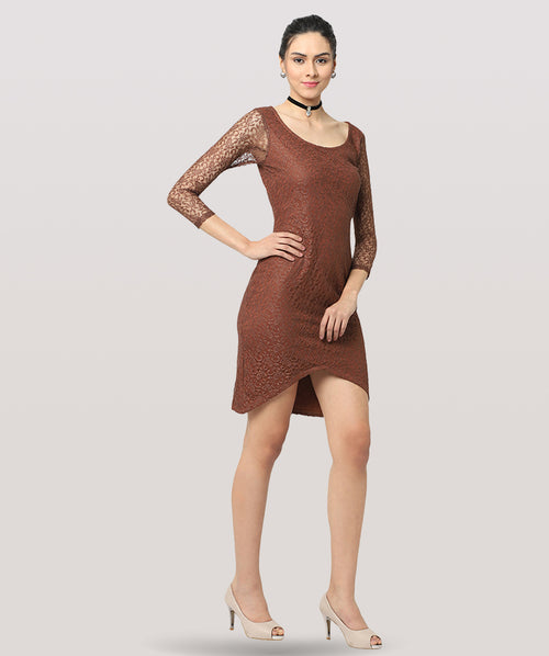 Nude Brown Lace 3/4th Sleeves Bodycon Dress - Raaika Clothing
