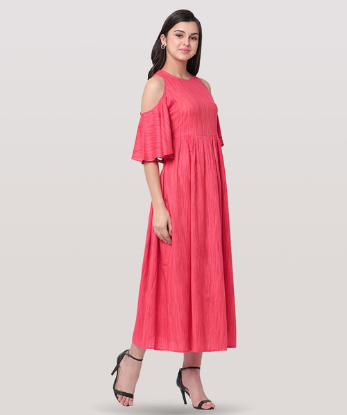 Pink Cold Shoulder Maxi Dress - Raaika Clothing