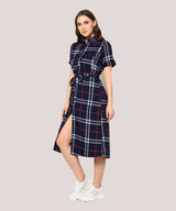 Blue Checkered Belted A-line Midi Dress