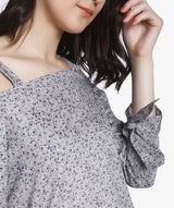 Grey Checkered Shoulder Strap Full Sleeve Top - Raaika Clothing