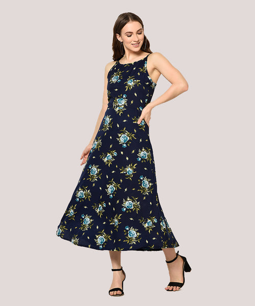 Navy Floral Shoulder Strap A-line Maxi Dress - Raaika Clothing