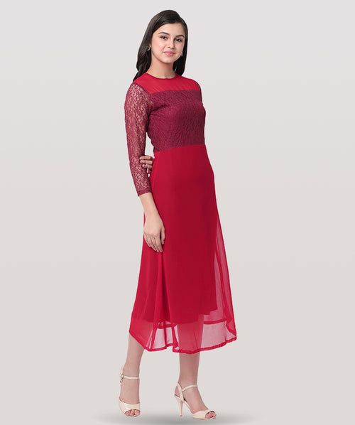 Maroon Round Neck Embellished Lace Maxi Dress - Raaika Clothing