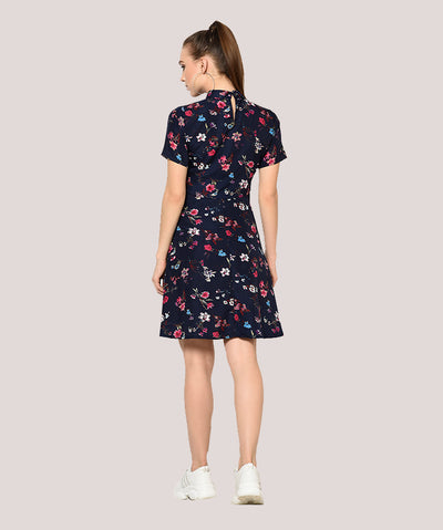Blue Floral Turtle Neck Fit and Flare Dress - Raaika Clothing