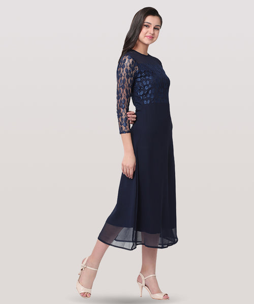 Blue Round Neck Embellished Lace Maxi Dress - Raaika Clothing