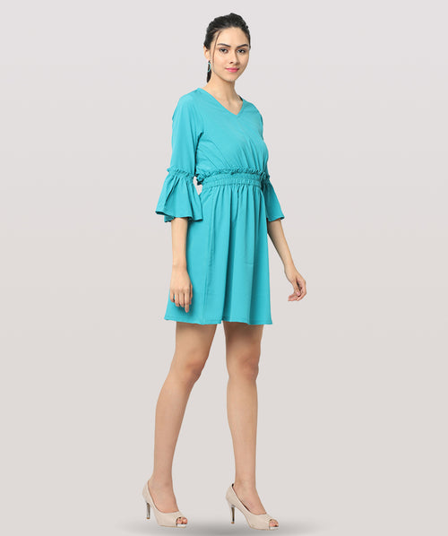 Turquoise Gathered Bell Sleeved Shift Dress - Raaika Clothing
