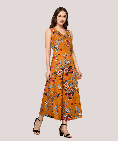 Brown Floral Sleeveless A-line Maxi Dress