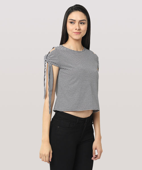 Striped Hand Knot Cut Shoulder Casual Top - Raaika Clothing