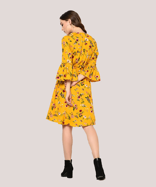 Mustard Yellow Ruffle Sleeves A-line Dress - Raaika Clothing