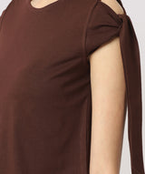 Brown Striped Hand Knot Cut Shoulder Casual Top - Raaika Clothing