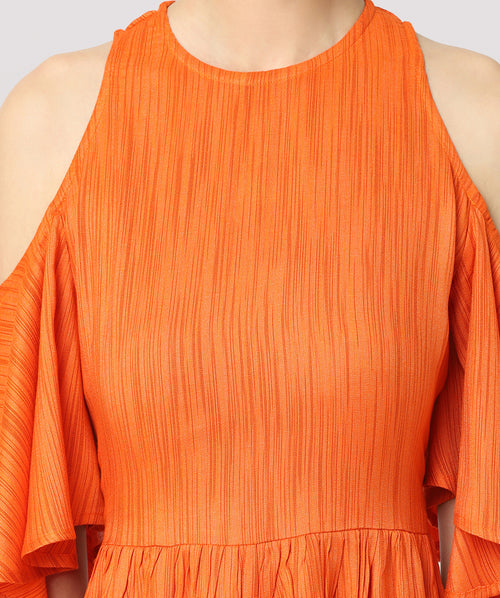 Orange Cold Shoulder Maxi Dress - Raaika Clothing