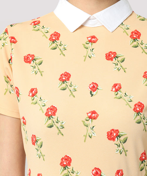 Yellow Floral Peter Pan Collar Skater Dress - Raaika Clothing